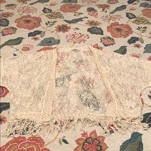 Short sleeved crocheted kimono